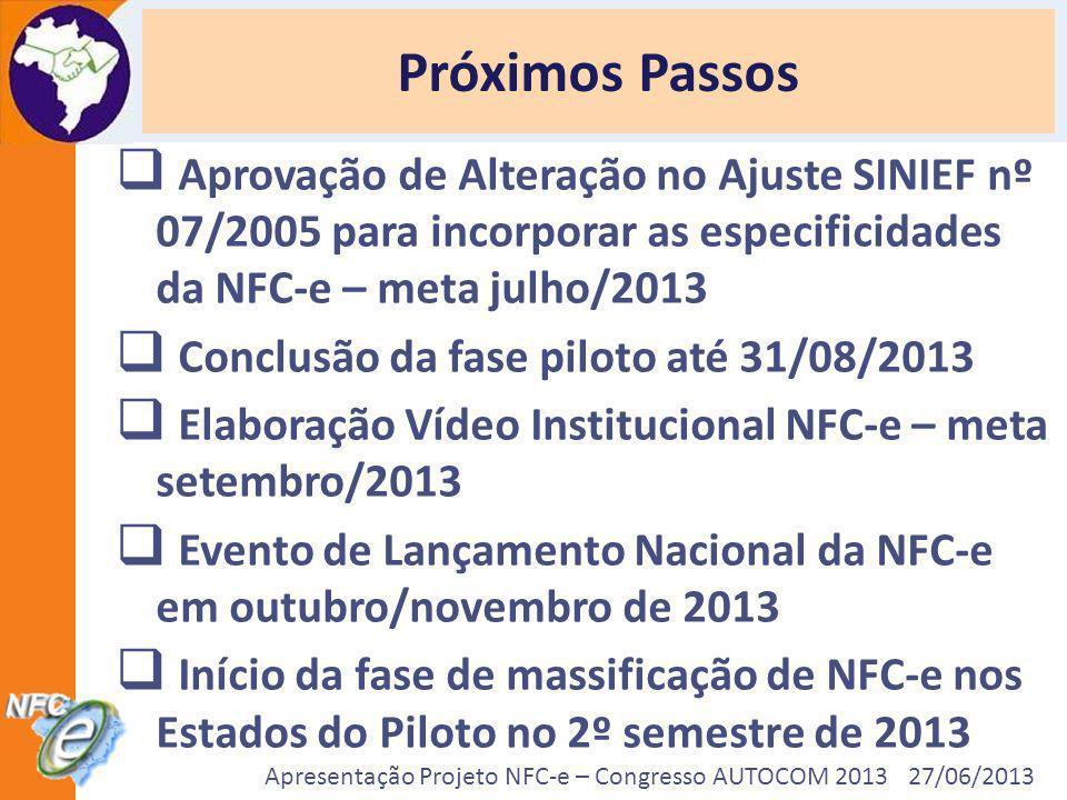 Próximos PassosAprovação de Alteração no Ajuste SINIEF nº 07/2005 para incorporar as especificidades da NFC-e – meta julho/2013.