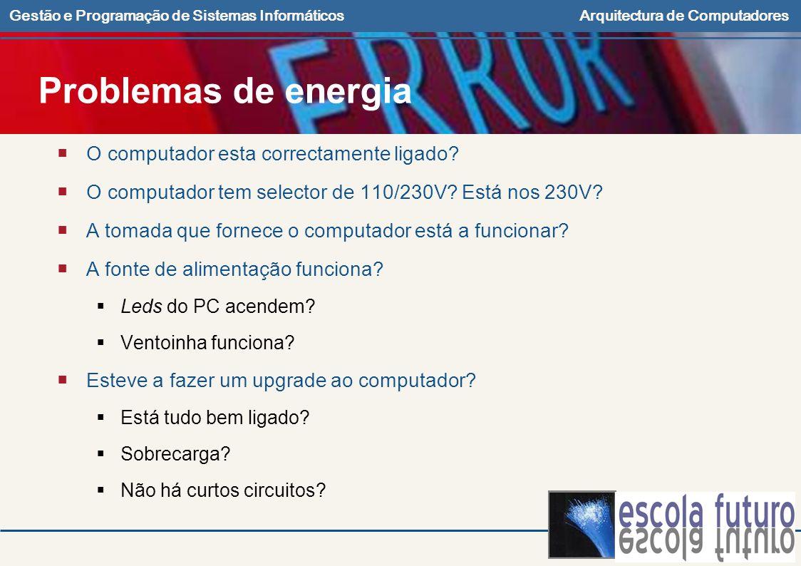 Problemas de energia O computador esta correctamente ligado