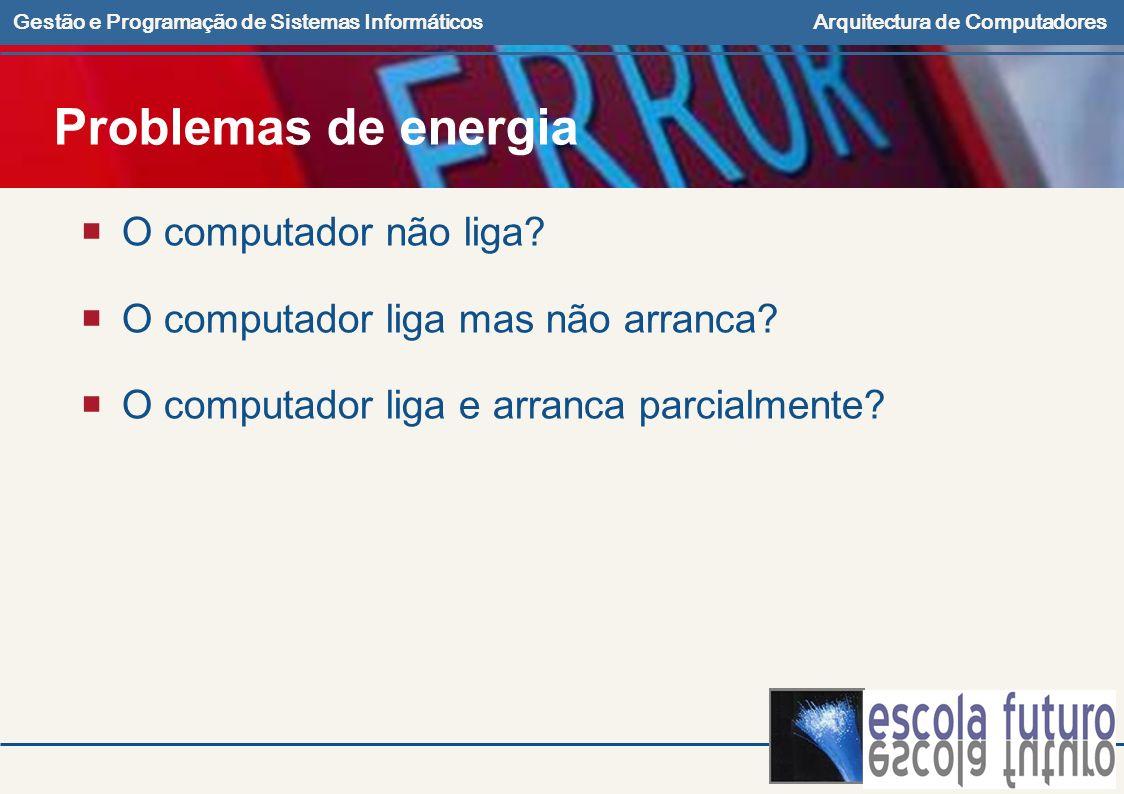 Problemas de energia O computador não liga