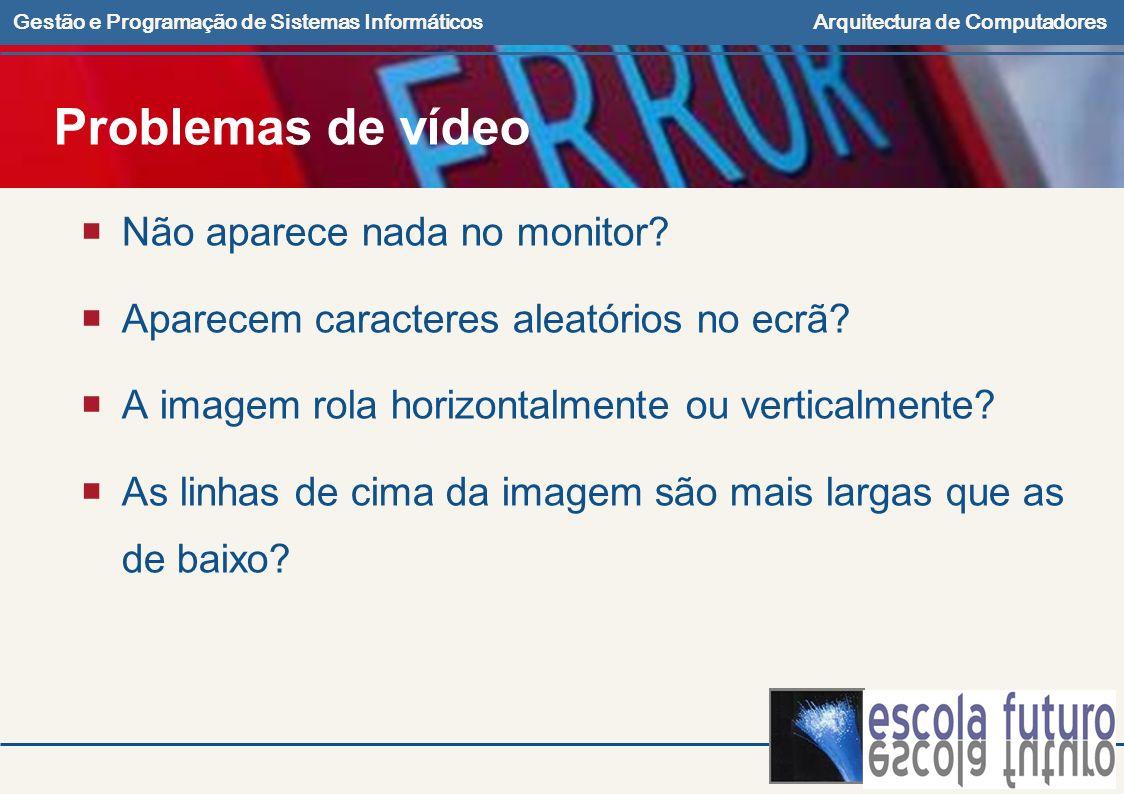 Problemas de vídeo Não aparece nada no monitor