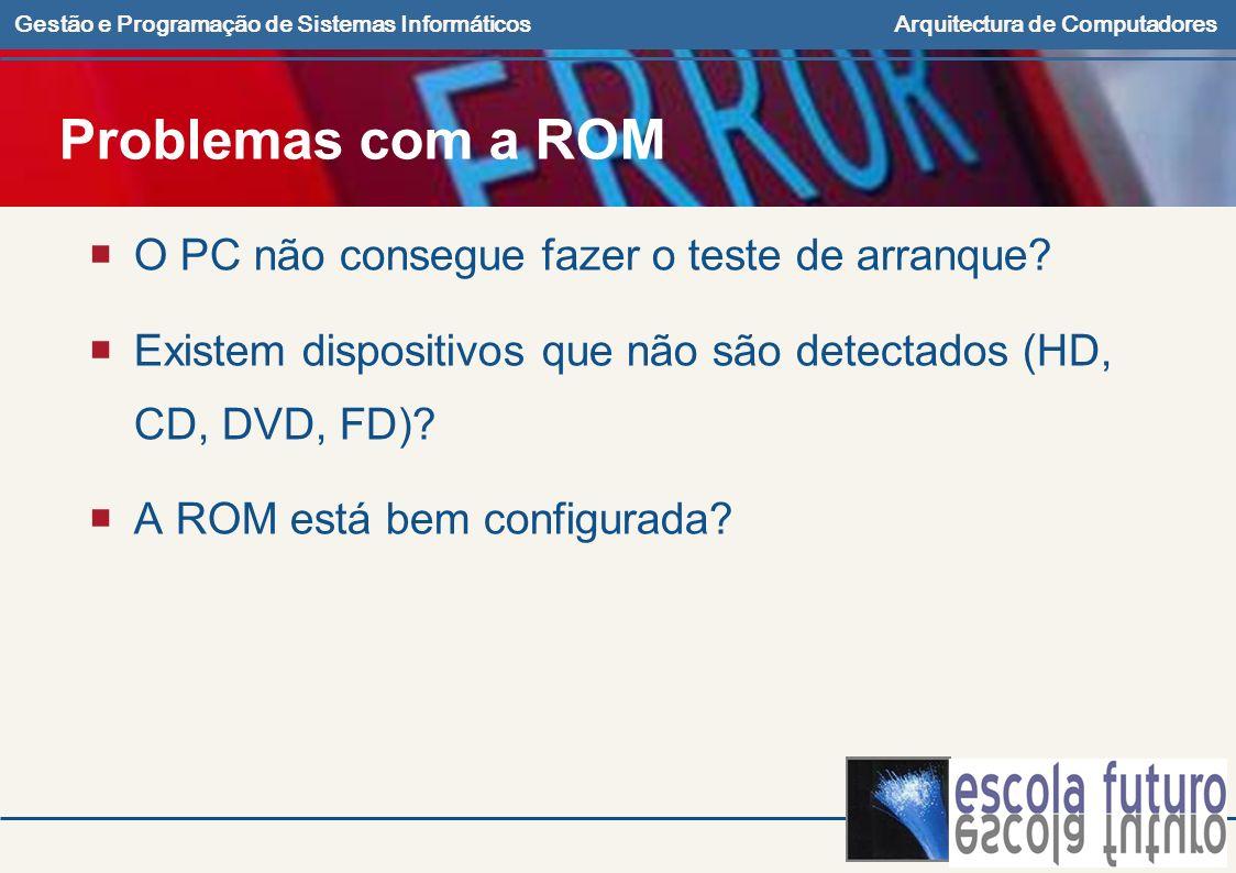 Problemas com a ROM O PC não consegue fazer o teste de arranque