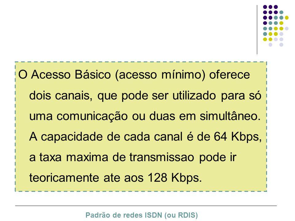 O Acesso Básico (acesso mínimo) oferece dois canais, que pode ser utilizado para só uma comunicação ou duas em simultâneo. A capacidade de cada canal é de 64 Kbps, a taxa maxima de transmissao pode ir teoricamente ate aos 128 Kbps.