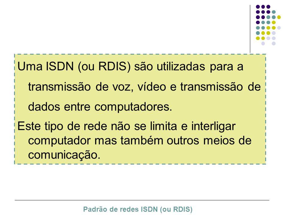 Uma ISDN (ou RDIS) são utilizadas para a transmissão de voz, vídeo e transmissão de dados entre computadores.