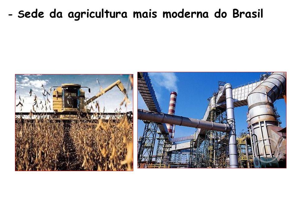 - Sede da agricultura mais moderna do Brasil