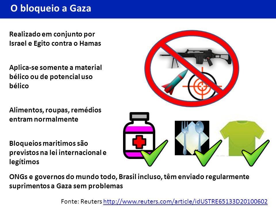 O bloqueio a Gaza Realizado em conjunto por Israel e Egito contra o Hamas. Aplica-se somente a material bélico ou de potencial uso bélico.