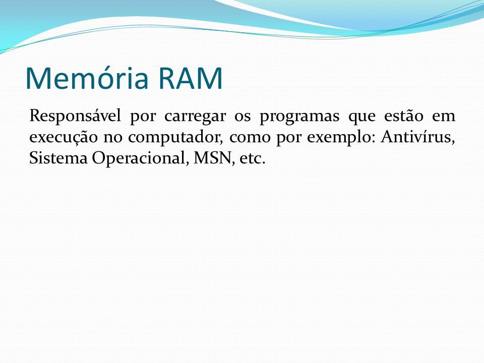 Memória RAM Responsável por carregar os programas que estão em execução no computador, como por exemplo: Antivírus, Sistema Operacional, MSN, etc.