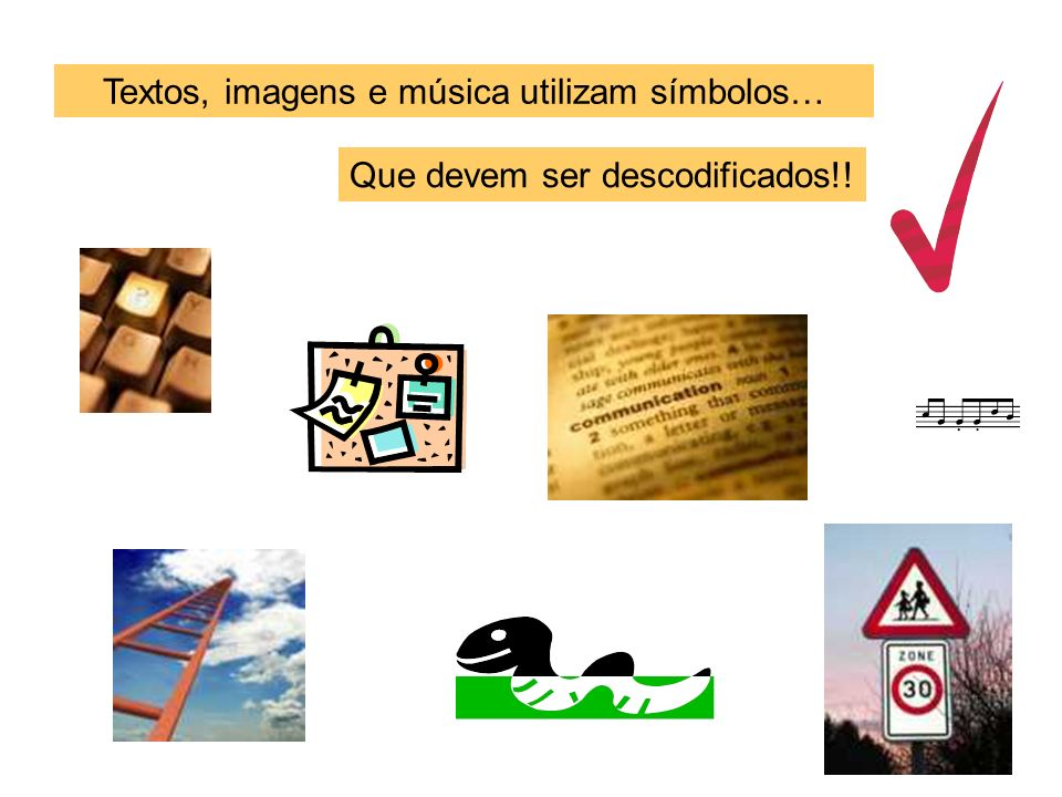 Textos, imagens e música utilizam símbolos…