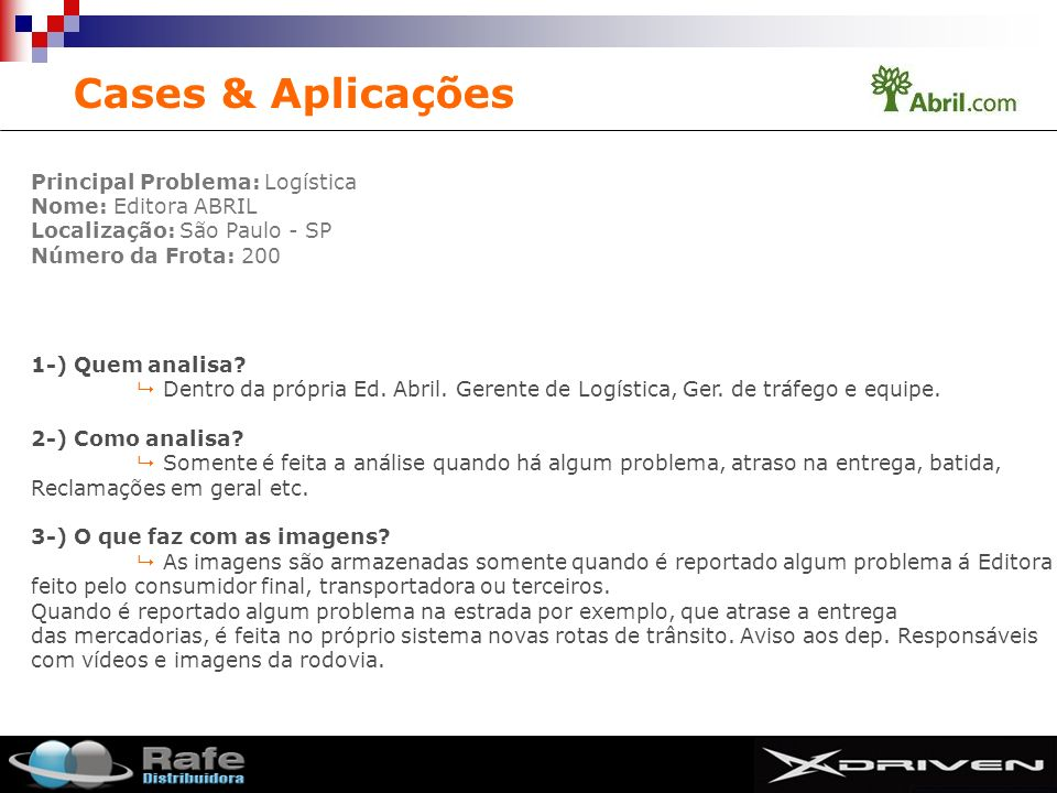 Cases & Aplicações Principal Problema: Logística Nome: Editora ABRIL