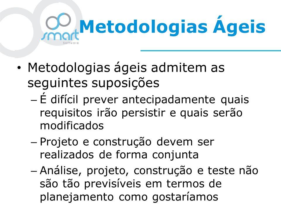 Metodologias Ágeis Metodologias ágeis admitem as seguintes suposições