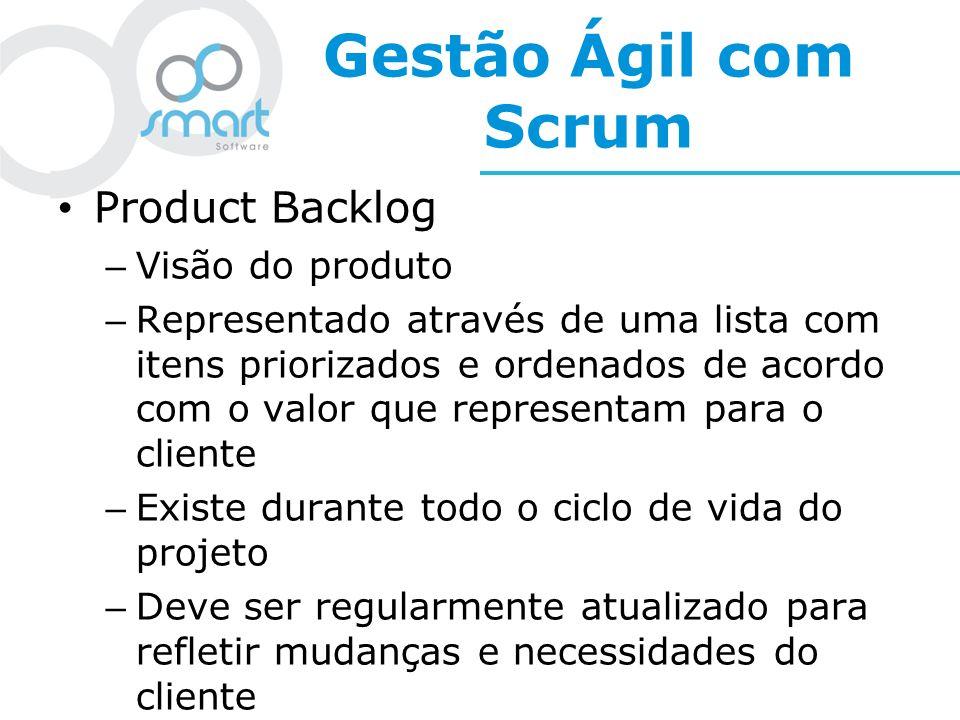 Gestão Ágil com Scrum Product Backlog Visão do produto