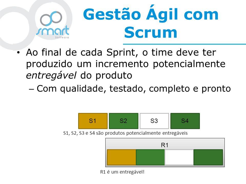Gestão Ágil com Scrum Ao final de cada Sprint, o time deve ter produzido um incremento potencialmente entregável do produto.