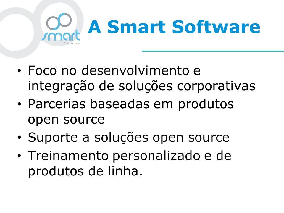 A Smart Software Foco no desenvolvimento e integração de soluções corporativas. Parcerias baseadas em produtos open source.