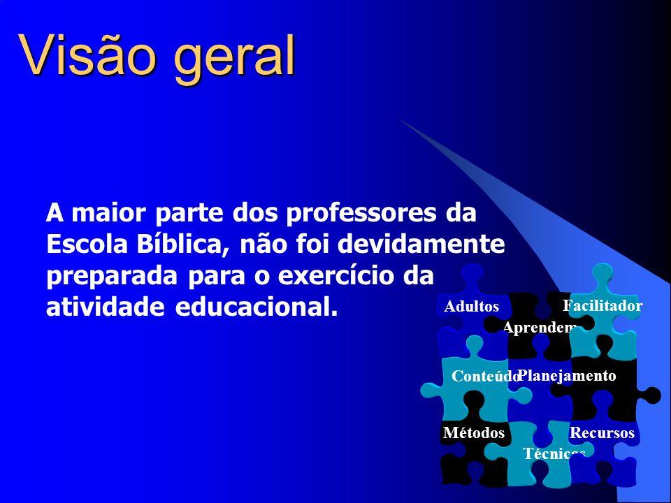 Visão geral A maior parte dos professores da Escola Bíblica, não foi devidamente preparada para o exercício da atividade educacional.