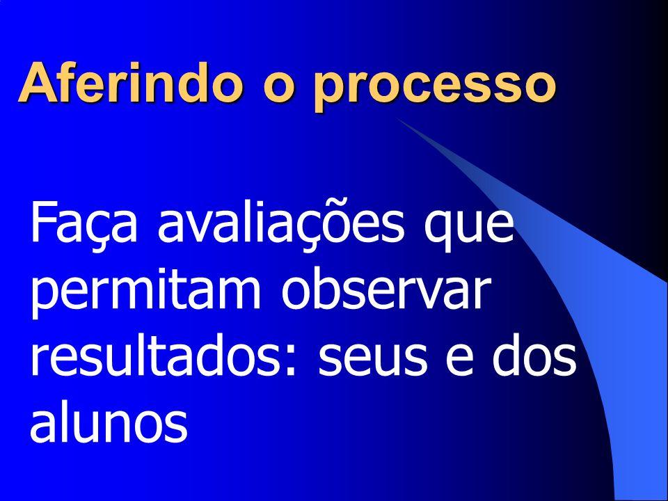Aferindo o processo Faça avaliações que permitam observar resultados: seus e dos alunos