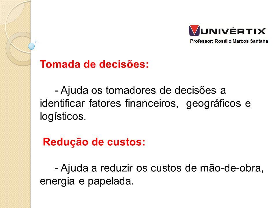 Tomada de decisões: - Ajuda os tomadores de decisões a identificar fatores financeiros, geográficos e logísticos.