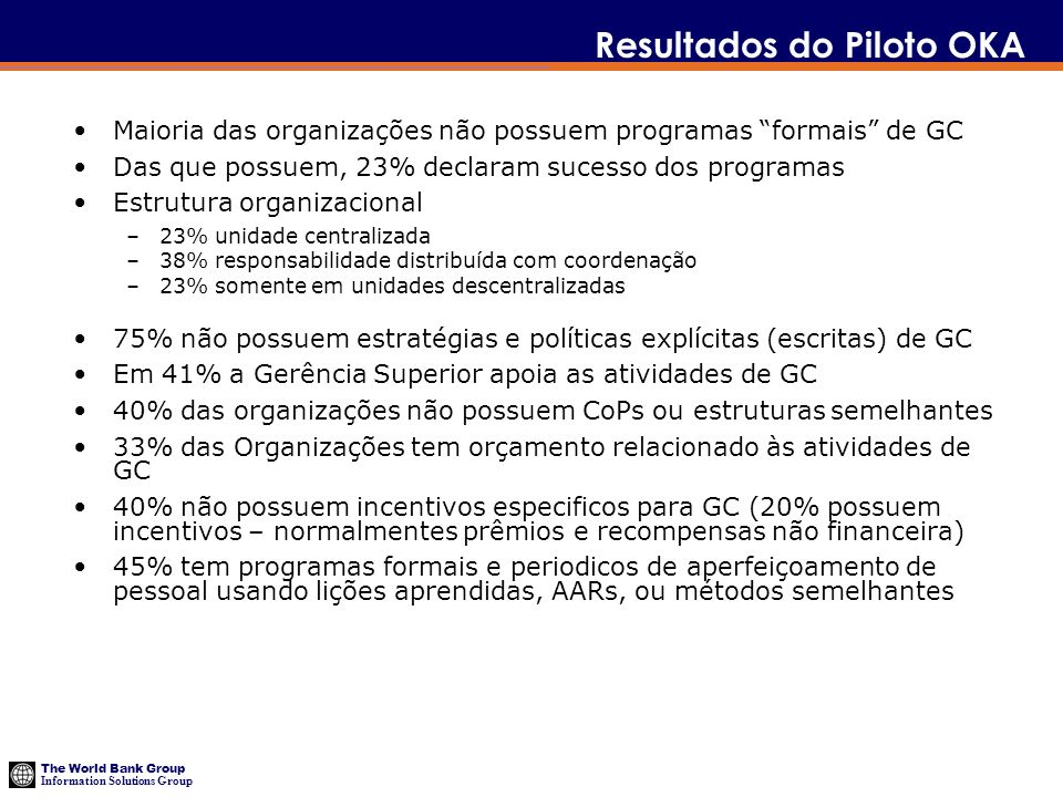 Resultados do Piloto OKA