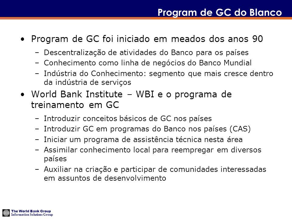 Program de GC do Blanco Program de GC foi iniciado em meados dos anos 90. Descentralização de atividades do Banco para os países.