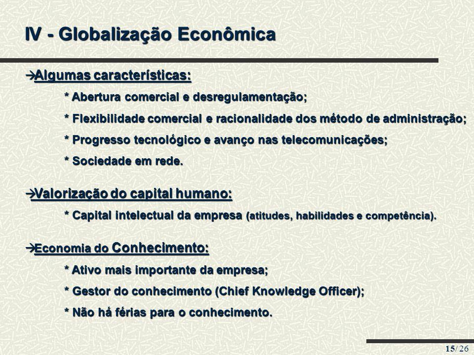 IV - Globalização Econômica