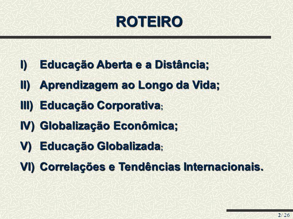 ROTEIRO Educação Aberta e a Distância; Aprendizagem ao Longo da Vida;