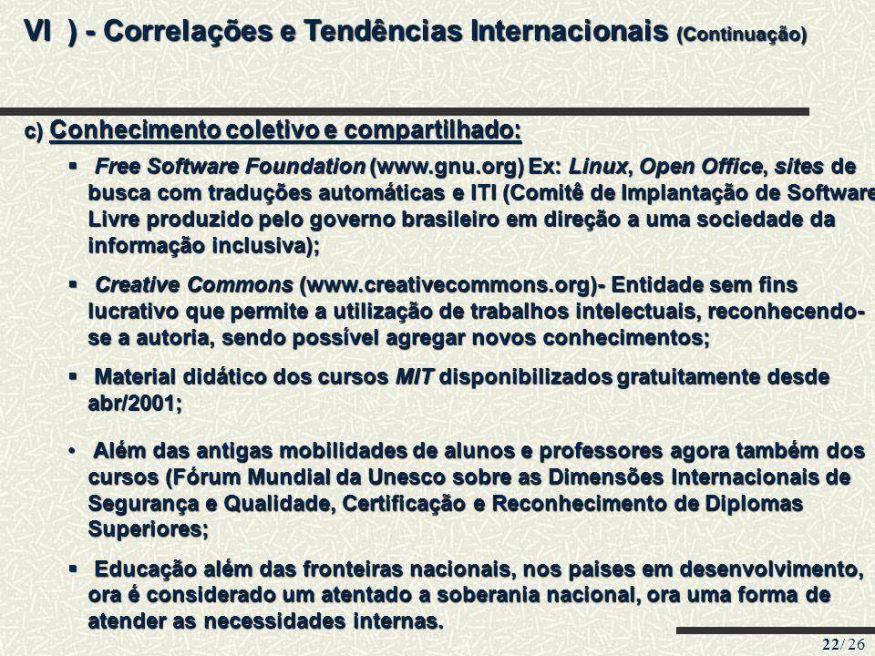 VI ) - Correlações e Tendências Internacionais (Continuação)