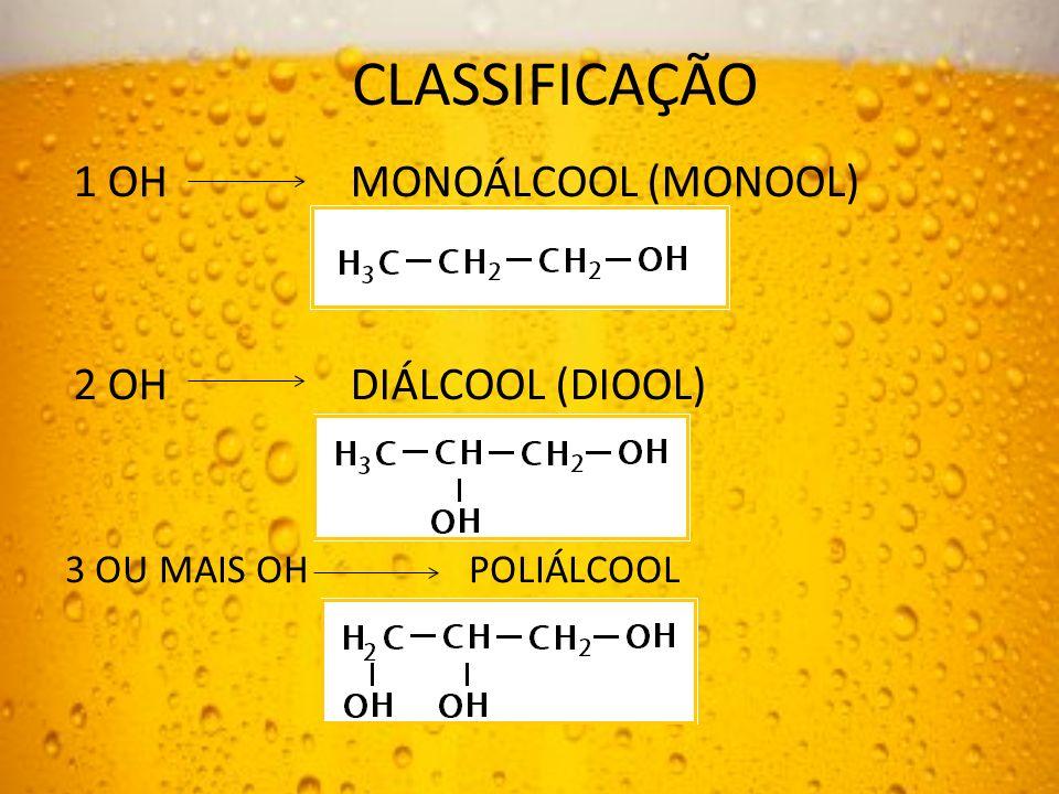 CLASSIFICAÇÃO 1 OH MONOÁLCOOL (MONOOL) 2 OH DIÁLCOOL (DIOOL)