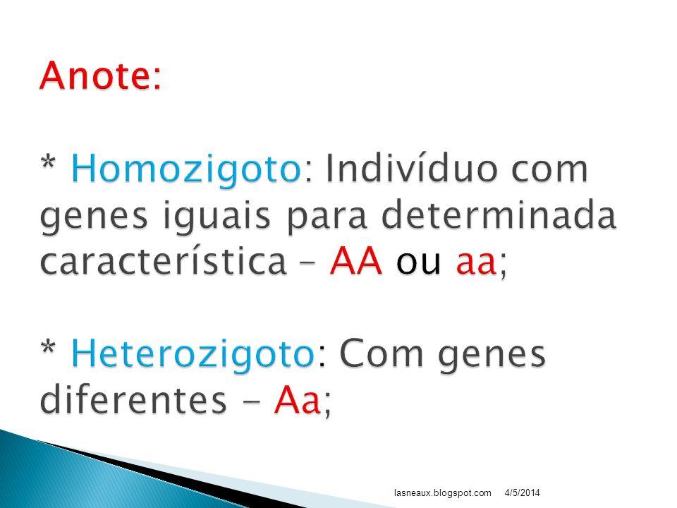 Anote: * Homozigoto: Indivíduo com genes iguais para determinada característica – AA ou aa; * Heterozigoto: Com genes diferentes - Aa;