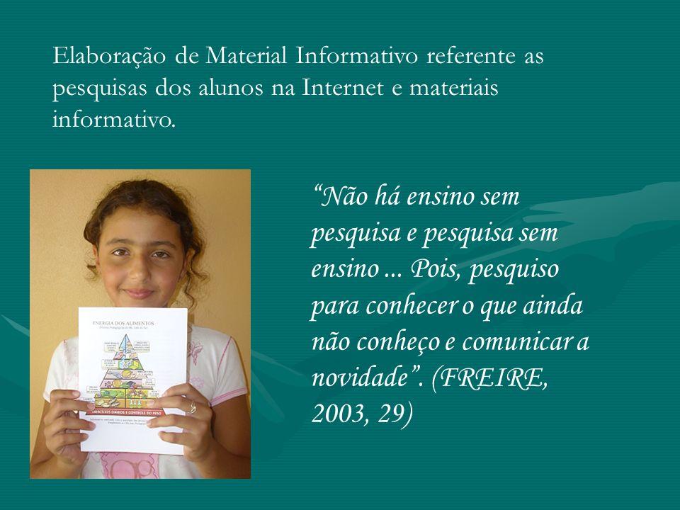Elaboração de Material Informativo referente as pesquisas dos alunos na Internet e materiais informativo.