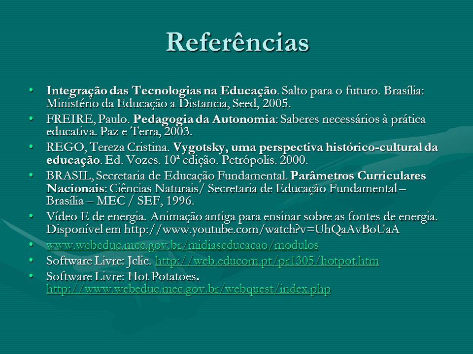 Referências Integração das Tecnologias na Educação. Salto para o futuro. Brasília: Ministério da Educação a Distancia, Seed, 2005.