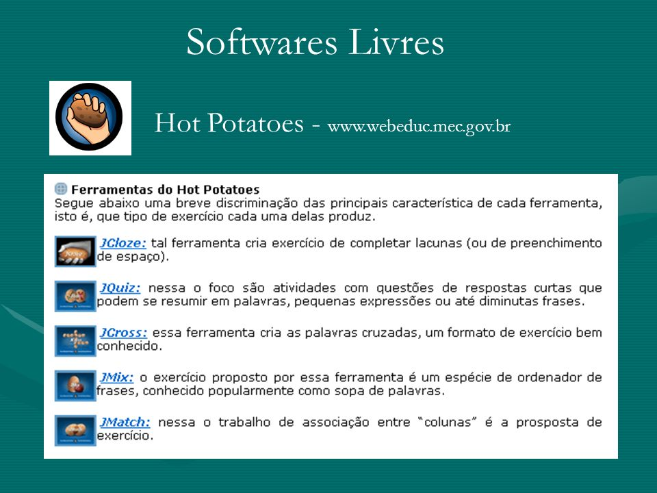 Softwares Livres Hot Potatoes - www.webeduc.mec.gov.br