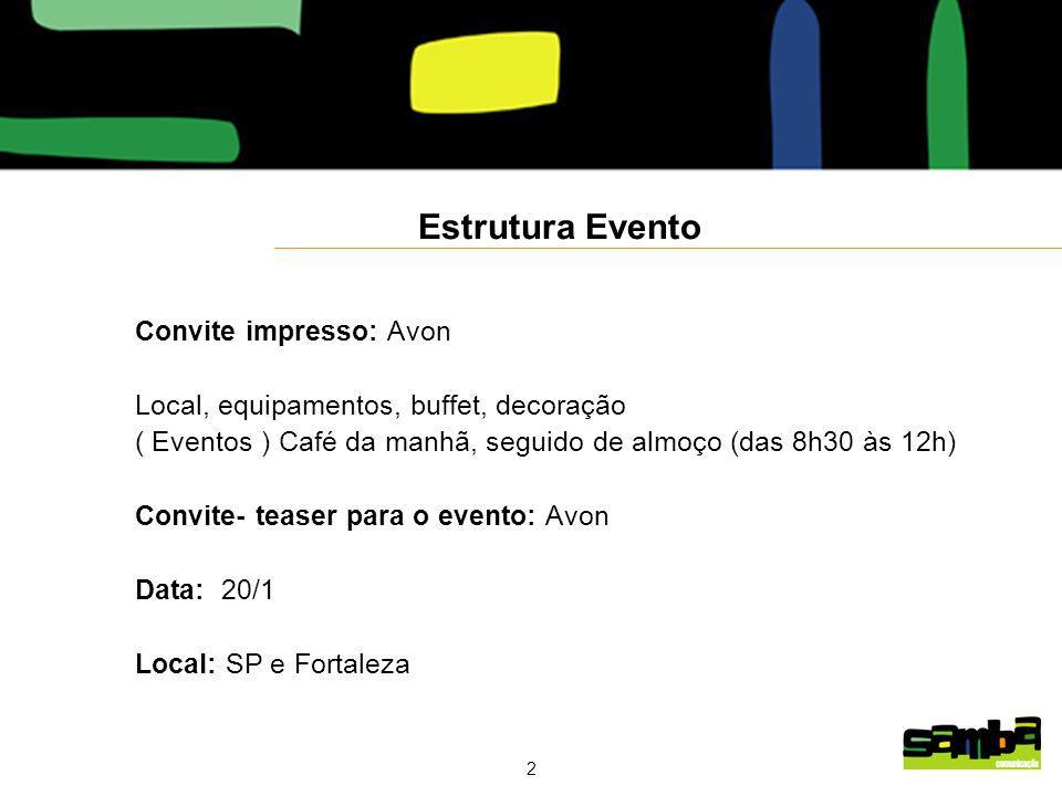 Estrutura Evento Convite impresso: Avon