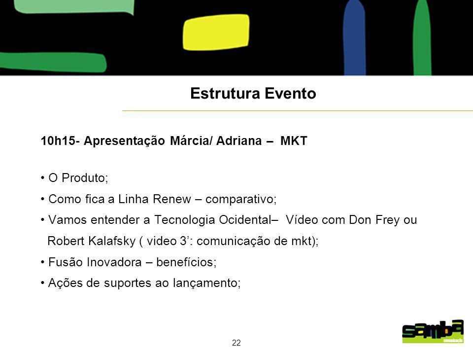 Estrutura Evento 10h15- Apresentação Márcia/ Adriana – MKT O Produto;