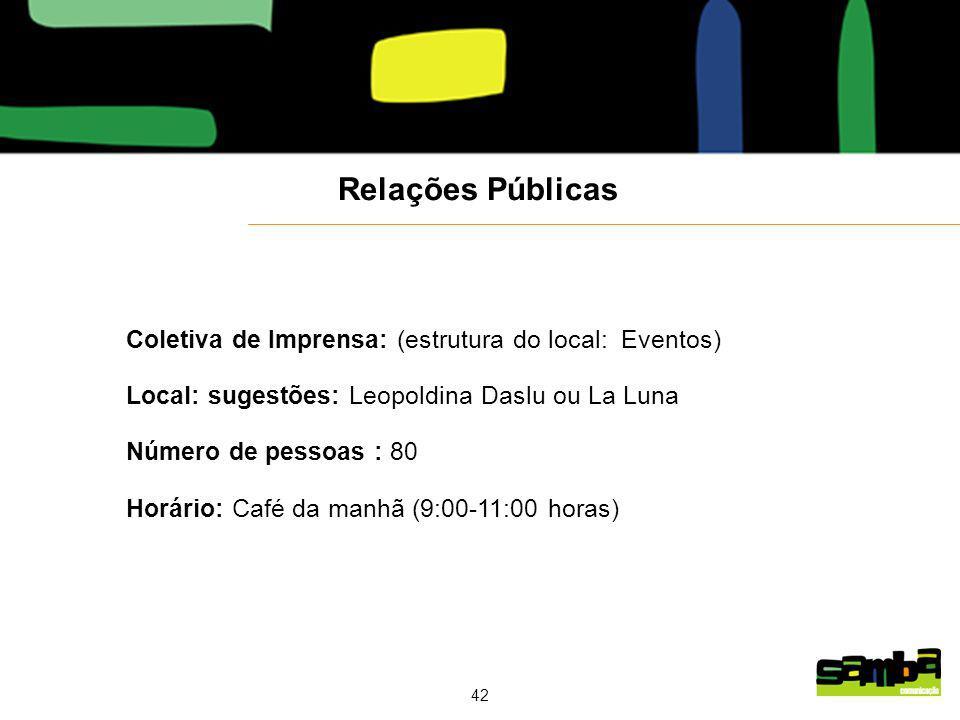 Relações Públicas Coletiva de Imprensa: (estrutura do local: Eventos)
