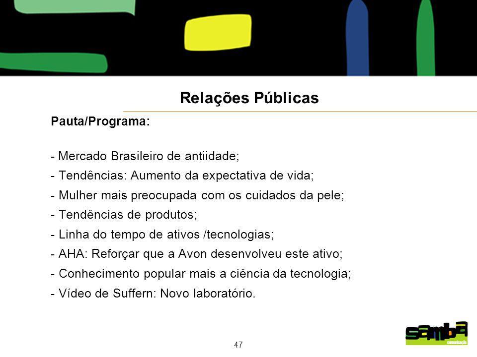 Relações Públicas Pauta/Programa: - Mercado Brasileiro de antiidade;