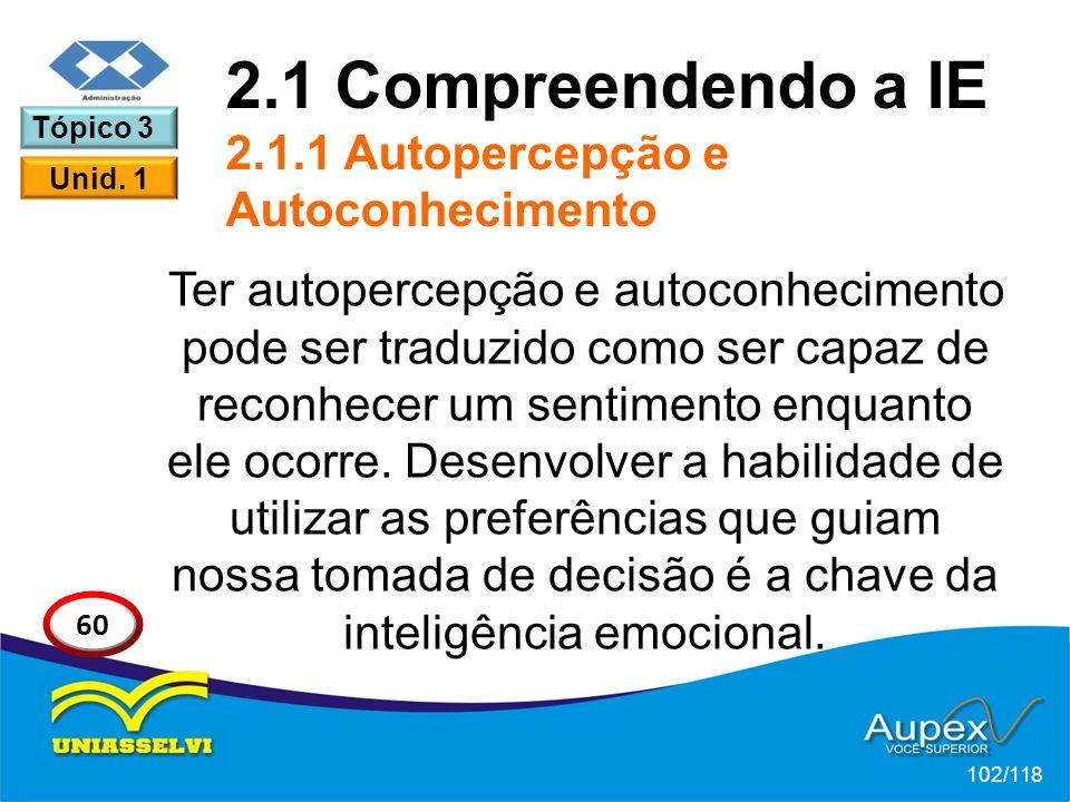 2.1 Compreendendo a IE 2.1.1 Autopercepção e Autoconhecimento