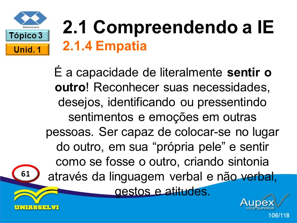 2.1 Compreendendo a IE 2.1.4 Empatia