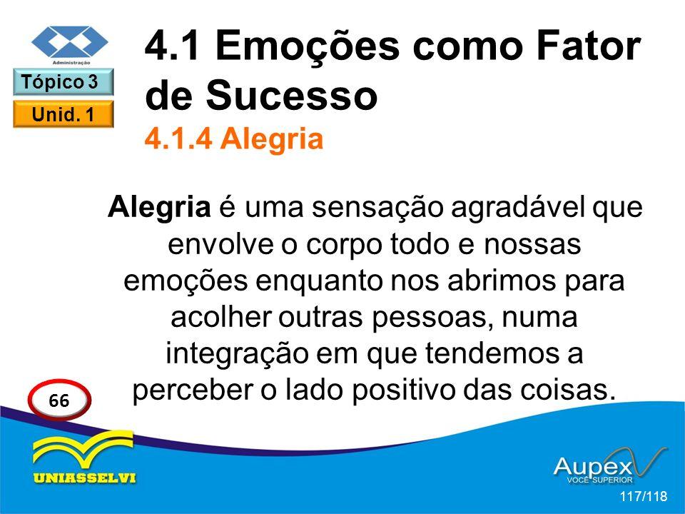 4.1 Emoções como Fator de Sucesso 4.1.4 Alegria
