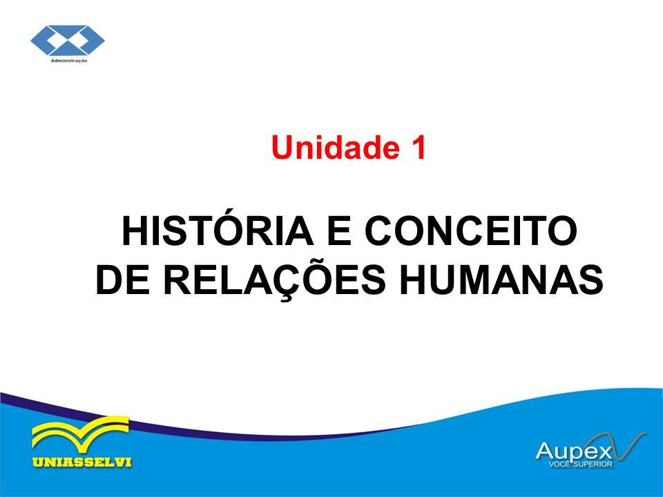 Unidade 1 HISTÓRIA E CONCEITO DE RELAÇÕES HUMANAS