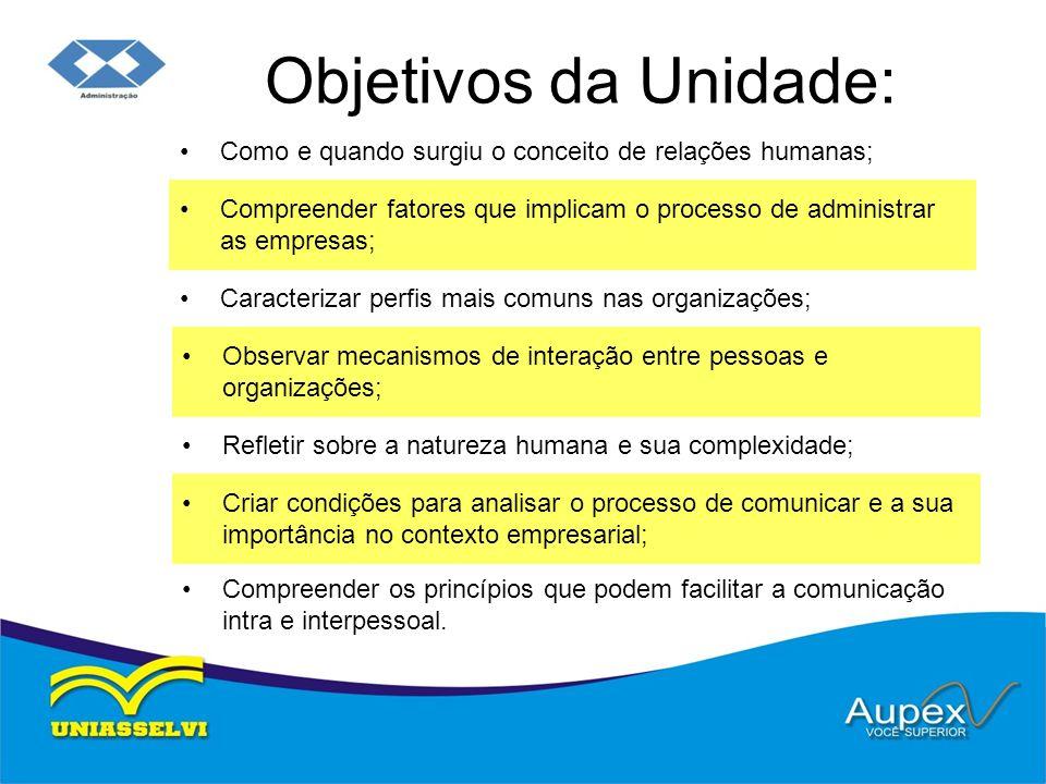 Objetivos da Unidade: Como e quando surgiu o conceito de relações humanas; Compreender fatores que implicam o processo de administrar as empresas;