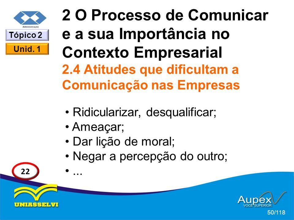 2 O Processo de Comunicar e a sua Importância no Contexto Empresarial 2.4 Atitudes que dificultam a Comunicação nas Empresas