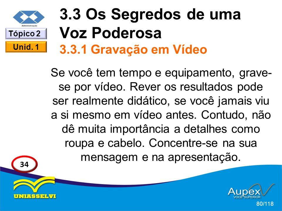 3.3 Os Segredos de uma Voz Poderosa 3.3.1 Gravação em Vídeo