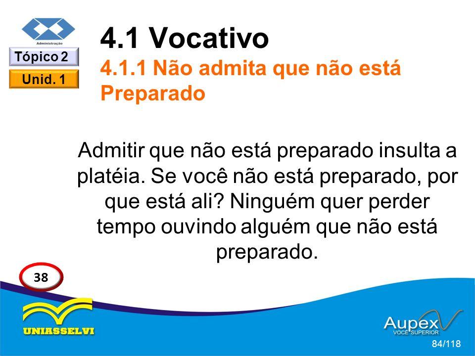 4.1 Vocativo 4.1.1 Não admita que não está Preparado
