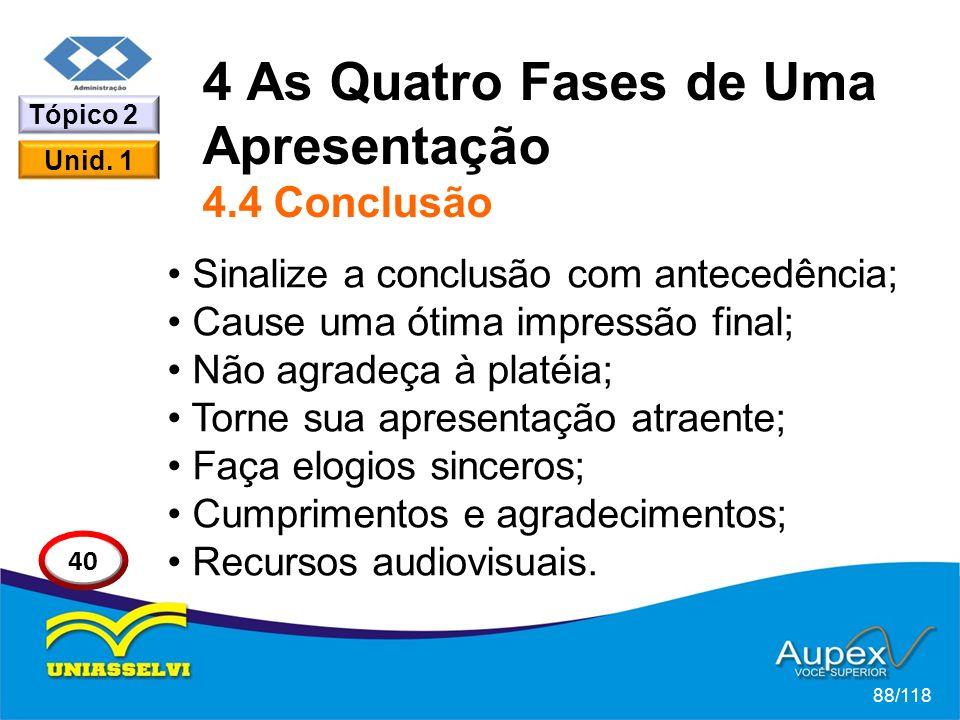 4 As Quatro Fases de Uma Apresentação 4.4 Conclusão