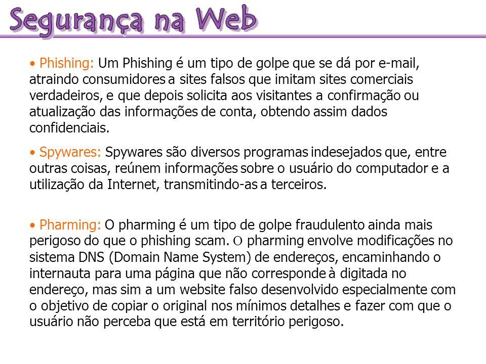 Phishing: Um Phishing é um tipo de golpe que se dá por e-mail, atraindo consumidores a sites falsos que imitam sites comerciais verdadeiros, e que depois solicita aos visitantes a confirmação ou atualização das informações de conta, obtendo assim dados confidenciais.