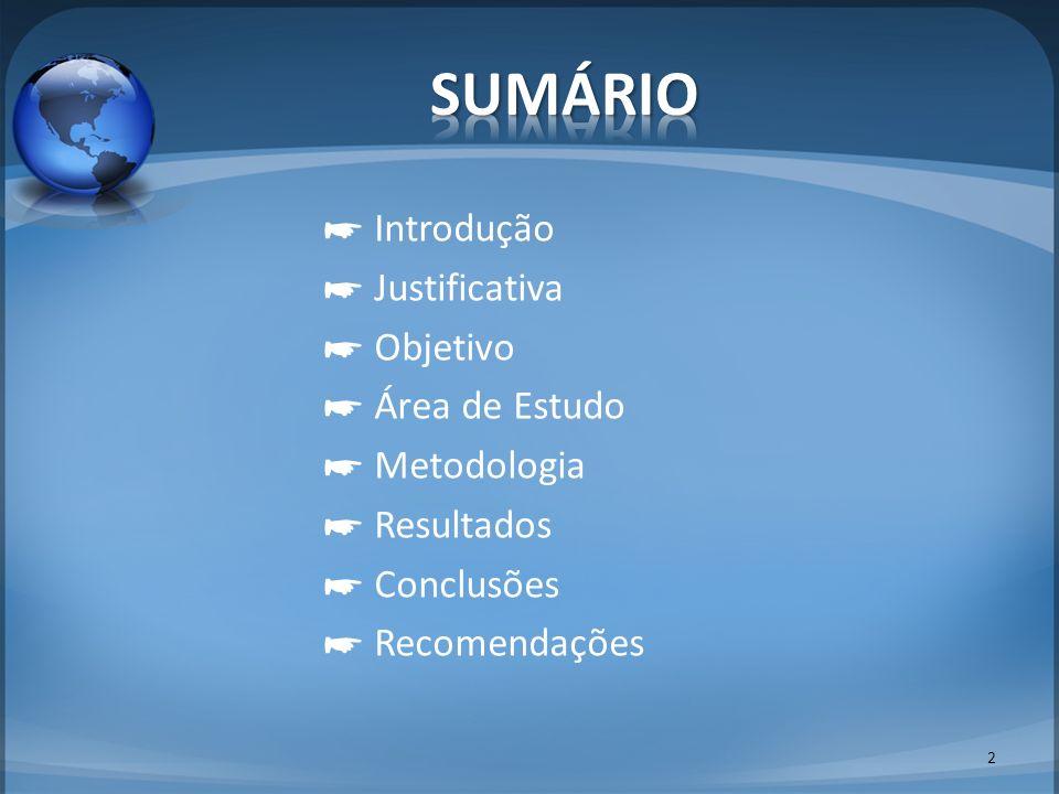 SUMÁRIO ☛ Introdução ☛ Justificativa ☛ Objetivo ☛ Área de Estudo ☛ Metodologia ☛ Resultados ☛ Conclusões ☛ Recomendações