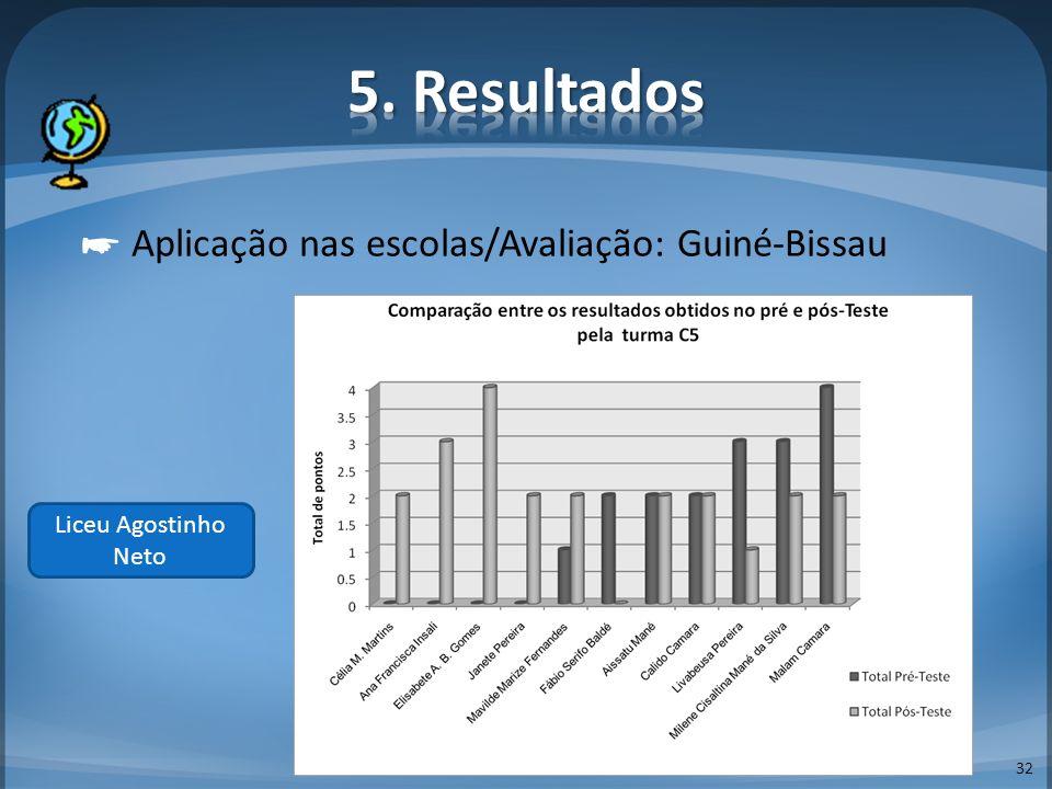 5. Resultados ☛ Aplicação nas escolas/Avaliação: Guiné-Bissau