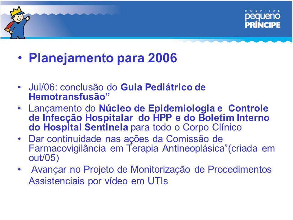 Planejamento para 2006 Jul/06: conclusão do Guia Pediátrico de Hemotransfusão