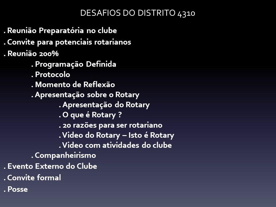 DESAFIOS DO DISTRITO 4310 . Convite para potenciais rotarianos