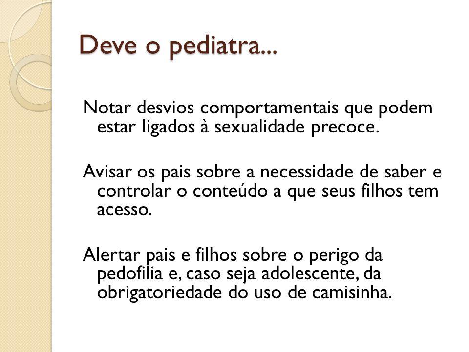 Deve o pediatra... Notar desvios comportamentais que podem estar ligados à sexualidade precoce.