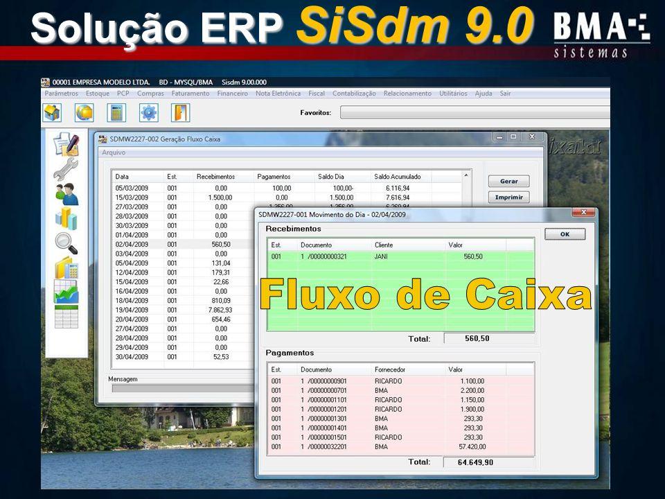 Solução ERP SiSdm 9.0 Fluxo de Caixa