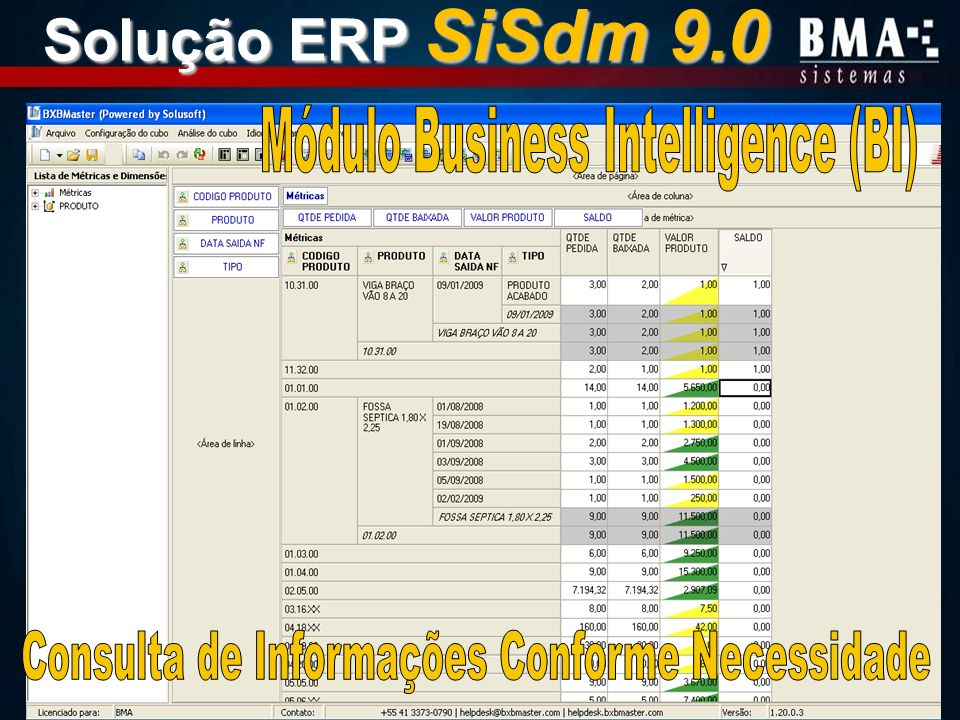 Solução ERP SiSdm 9.0 Módulo Business Intelligence (BI)
